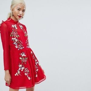 ASOS Embroidered Red Mini Dress